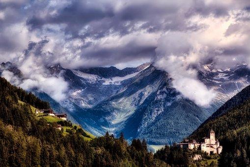 Italy, Mountains, Sky, Clouds, Landscape, Sunrise, Fog