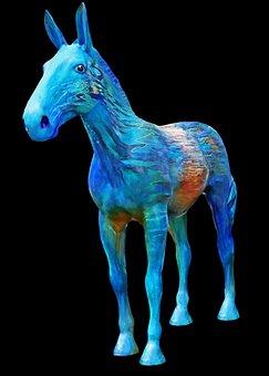 Blue Horse, Statue, Horse, Animal, Landmark, Sculpture