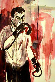 Painting, Boxer, Sports, Man, Drawing, Red, Work Of Art