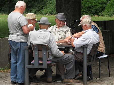 Pensioners, Card Game, Pastime, Park, Leisure, Strategy