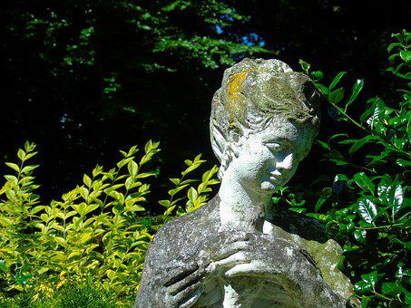 Cemetery, Figure, Sculpture, Woman, Melancholic, Pray