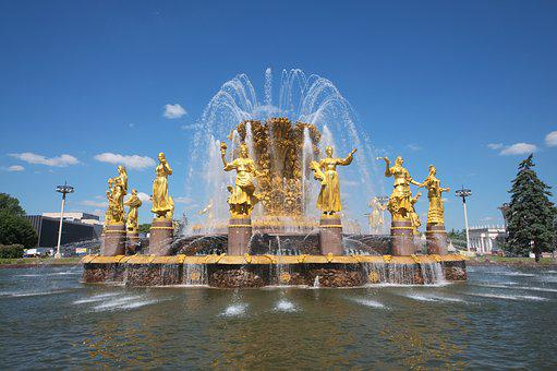 Fontaine, Moscow, Gold, Russia, Historically