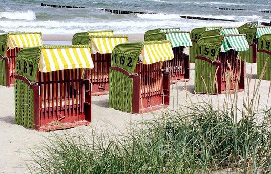 Beach, Clubs, Beach Chair, Sand, Sea, Baltic Sea