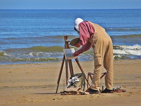 Painter, Sea, Painting, Artist, Paint, Beach