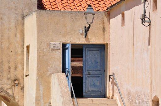 Bonifacio, Corsica, Door, East, Blue, France, Walls