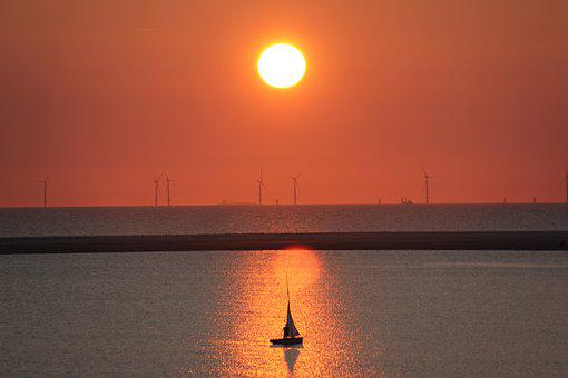 Borkum, Sunset, Wind Park, Sailing Boat, Mood, Lighting