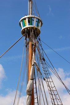 Crow's Nest, Sailing Ship, Mast, Nest, Boat, Ship, Sail
