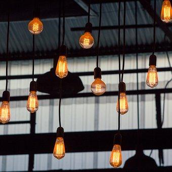 Lights, Silhouette, Bulb, Light, Dark, Filament, Glass