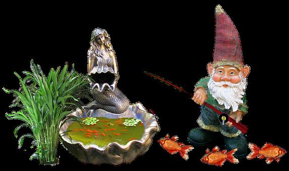 Gnome, Fish, Pond