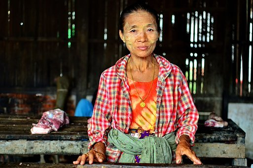 Burma, Myanmar, Grandmother, Market, Village, Travel