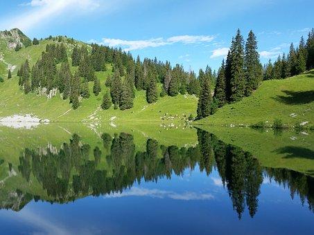 Bergsee, Mountains, Landscape, Switzerland, Nature