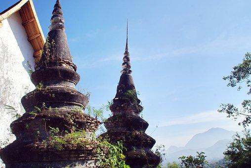 Laos, Luang Prabang, Temple, Old Temple, Stupas