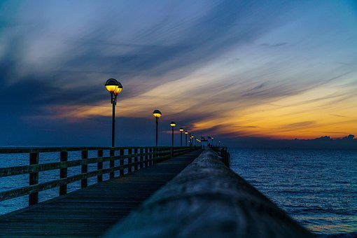 Sea Bridge, Graal-müritz, Baltic Sea, Sunset, Sea