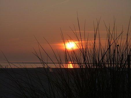 Borkum, Sunset, Dunes, Mood, Evening Sky, Sea, Lighting