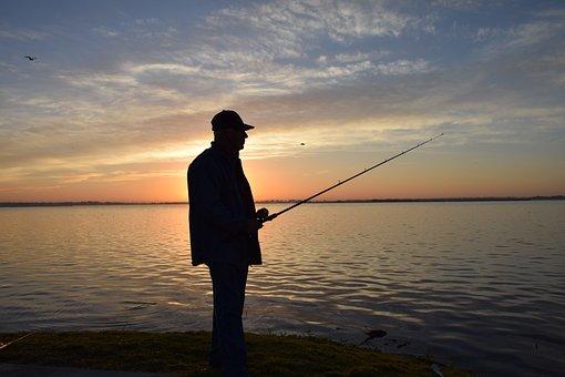 Fisherman, Portrait, Silhouette, Fishing, Sunrise