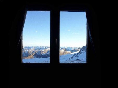Window, Mountains, Glacier, Sky, Landscape, Austria