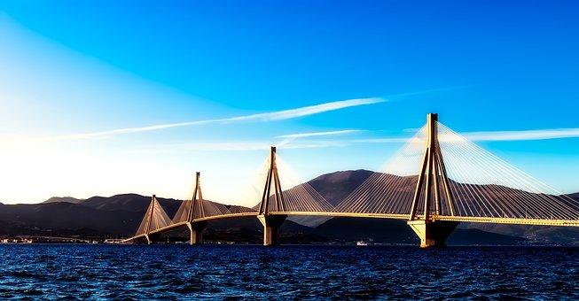 Greece, Bridge, Architecture, Landmark, Mountains, Bay