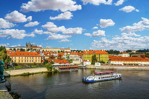 Prague, Cruise, Tour, Vltava, River, Czech, Sky, Boat