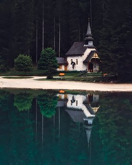 Italy, Church, Chapel, Faith, Religion, Lake, Water