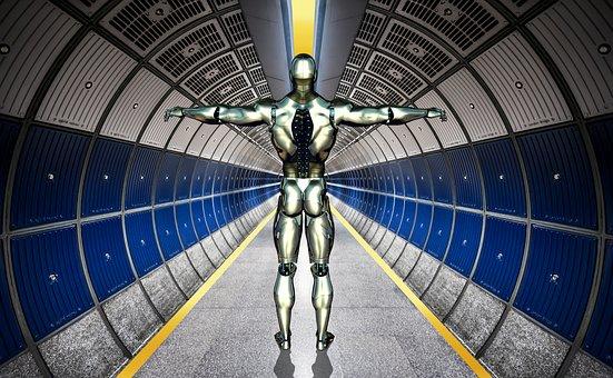 Robot, Cyborg, Forward, Machine, Tunnel, Fantasy, Metal