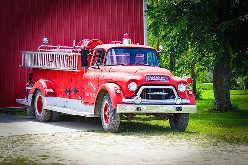Fire, Old, Oldtimer, Fire Truck, Museum, Red