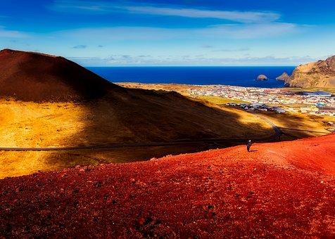 Iceland, Town, City, Mountains, Hiking, Tourism