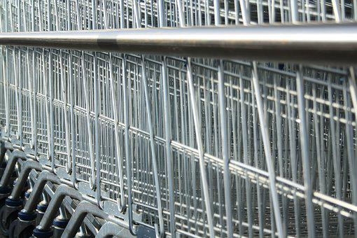 Shopping Cart, Lines, Geometric, Industrial, Silver