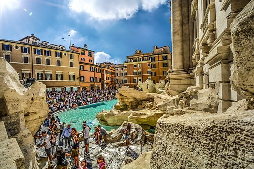 Trevi, Fountain, Rome, Other Side, Italy, Italian