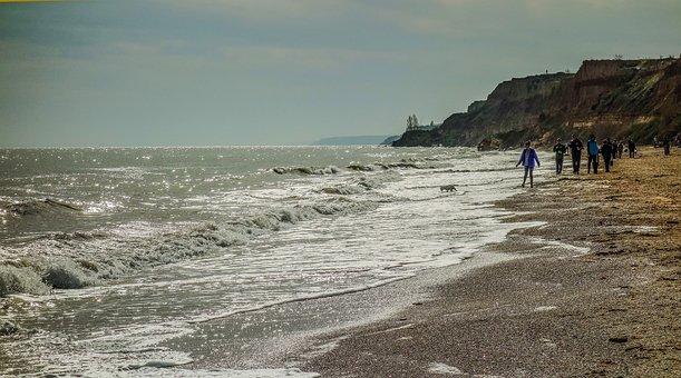 Sea, Odessa, People, Dog, Stroll, Horizon
