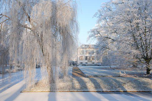 Snow, Ripe, Winter, Cold, House, Manor, Channel, Freeze