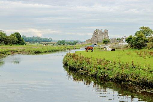Castle, River, Landmark, Landscape, Town, Historical