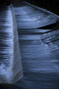 Night, Water, River, Waterfall, Fluent, Wet, Murmur