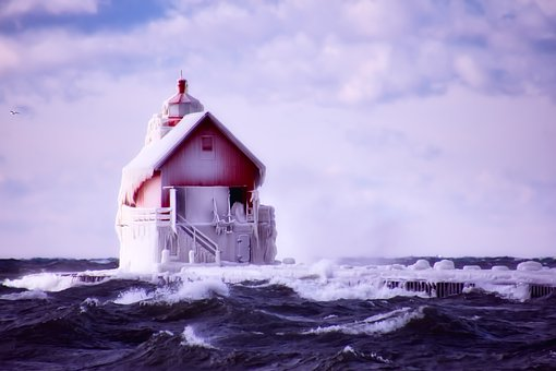 Lighthouse, Sky, Clouds, Sea, Ocean, Winter, Ice, Icy
