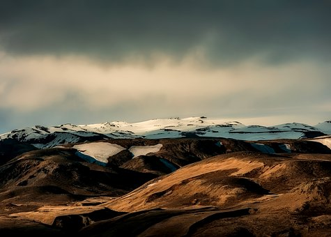 Iceland, Mountains, Snow, Landscape, Sky, Clouds