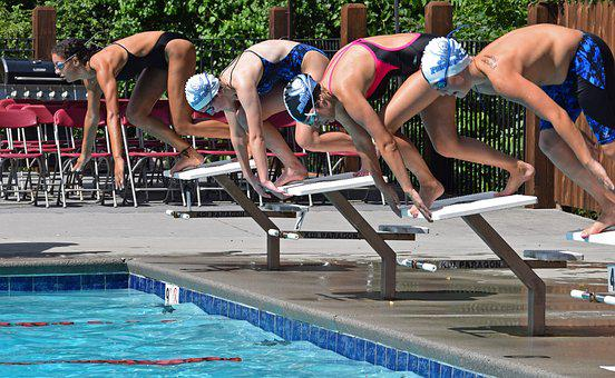 Young Swimmers, Beginning Race, Swim Meet, Swimming