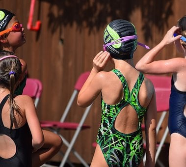 Young Swimmers, Listening To Coach, Swim Meet, Swimming