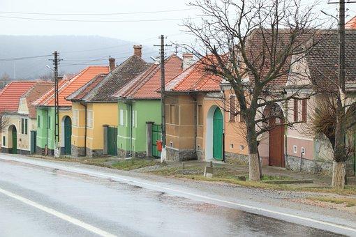 Romania, Village, Colors, Wet, Rain, Houses