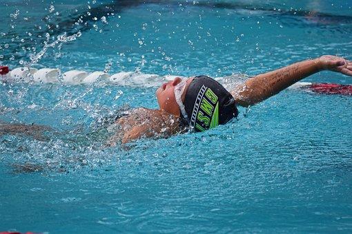 Young Swimmer, Backstroke, Swim Meet, Swimming