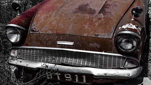 Old Car, Headlights, Rusty, Vehicle, Abandoned, Broken