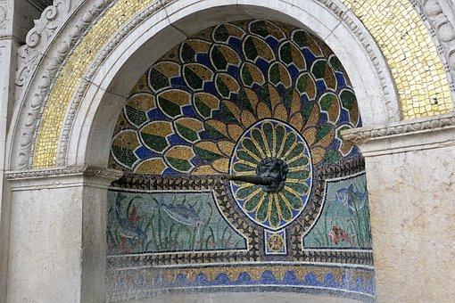 Fountain, Zurich, Bad, Art, Mosaic, Water, Switzerland