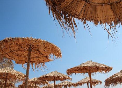 Parasol, Greece, Crete, Blue Sky, Beach, Summer, Hot