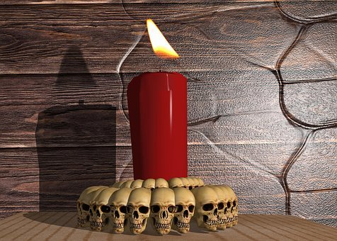 Candle, Skull And Crossbones, Wood, Decoration, Light
