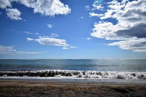 Sky, Black, Beach, Clouds, Wave, Breaking, Coast