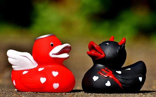 Quietscheenten, Devil, Angel, Opposites, Ducks, Rubber