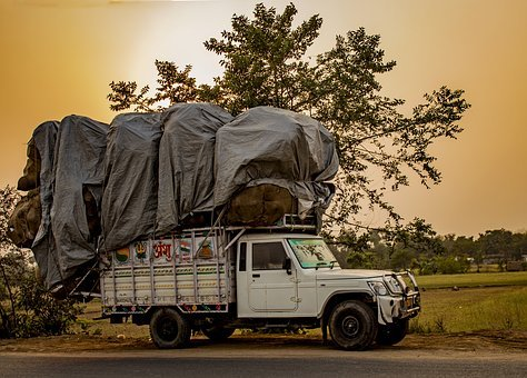 Golden Hour, Truck, India, Country Side, Transportation