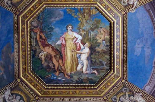 Italy, Rome, Vatican, Ceiling, Fresco, Color, Doré