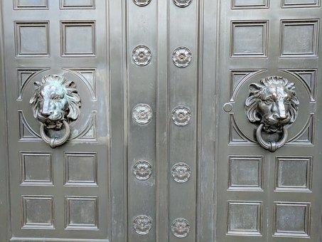 Doors, Bronze, Knockers, Door Knockers, Lions, Metal