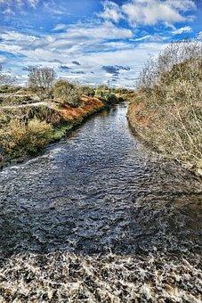 Urmston, River, Mersey, Water, England, Merseyside