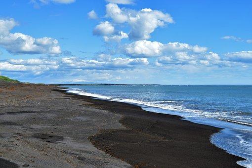 Black, Beach, Ocean, Summer, Sea, Sand, Shore, Iceland