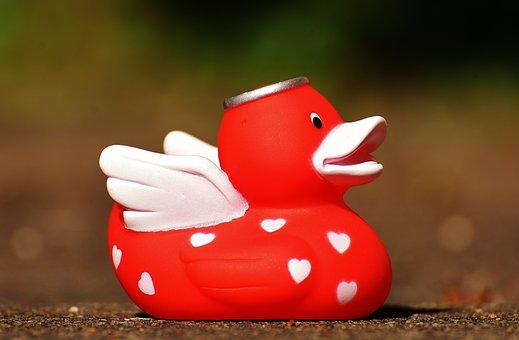 Quietscheente, Angel, Duck, Rubber, Cute